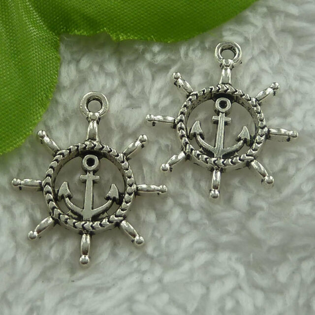 Free Ship 90 pcs  tibet silver steering wheel charms 26x24mm #1937