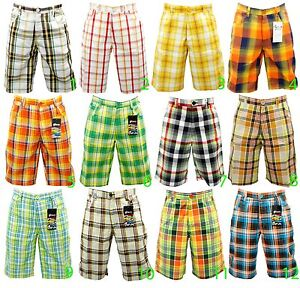 NEW MEN MIXED BRAND FASHION MULTI COLOR PLAID SHORTS CHECK AND ...