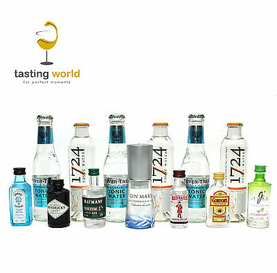 GIN TONIC Tasting Set 7 x Gin + 6 x Tonic 1724 / FeverTree - Hendricks Bombay ua