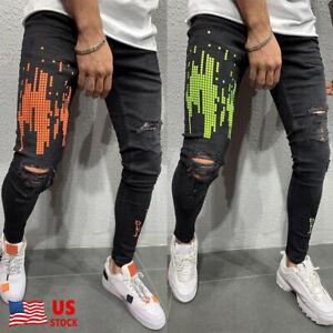 Men-Ripped-Jeans-Frayed-Slim-Fit-Distressed-Denim-Skinny-Pencil-Pants-Casual-US