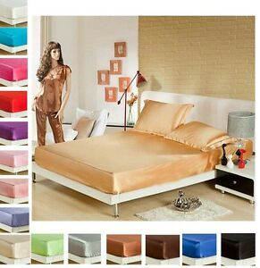 3-PIECE-SOFT-Satin-BED-FITTED-SHEETS-AND-2PILLOWCASES-Queen-KING-SIZES