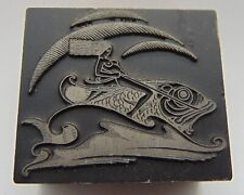 Printing Letterpress Printers Block Woman Riding Fish