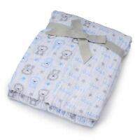Infant Baby Boy 2 Pk. Just Born Muslin Swaddle Blankets