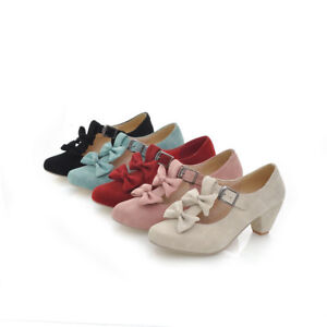Women-039-s-Suede-Bow-Lolita-Mary-Jane-Low-Heels-Lady-Round-Toe-Shoes-Plus-Size