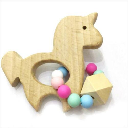 DIY 1pcs  Wood color unicorn Wooden Teether Safety Beaded Baby Molar Stick Toy