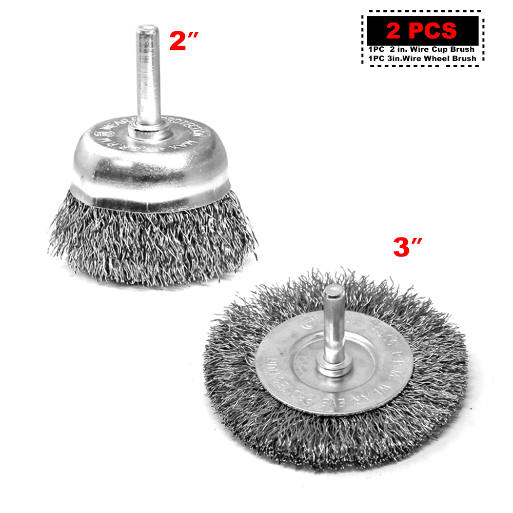 NEW 12x Drill Wire Wheel Brush Cup /& Flat Crimped Steel Drill Attachment Brushes