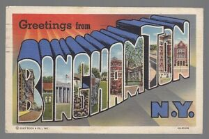 55064 1947 large letter postcard greetings from binghamton new image is loading 55064 1947 large letter postcard greetings from binghamton m4hsunfo