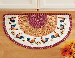 Country Chicken Rooster Sunflower Braided Slice Floor Rug Door Mat Kitchen Home Ebay
