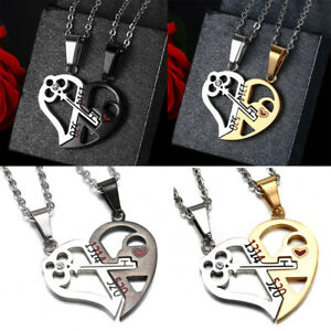His-Queen-and-Her-King-Promise-Matching-Necklace-Lover-Lock-amp-Key-Couples-Necklace