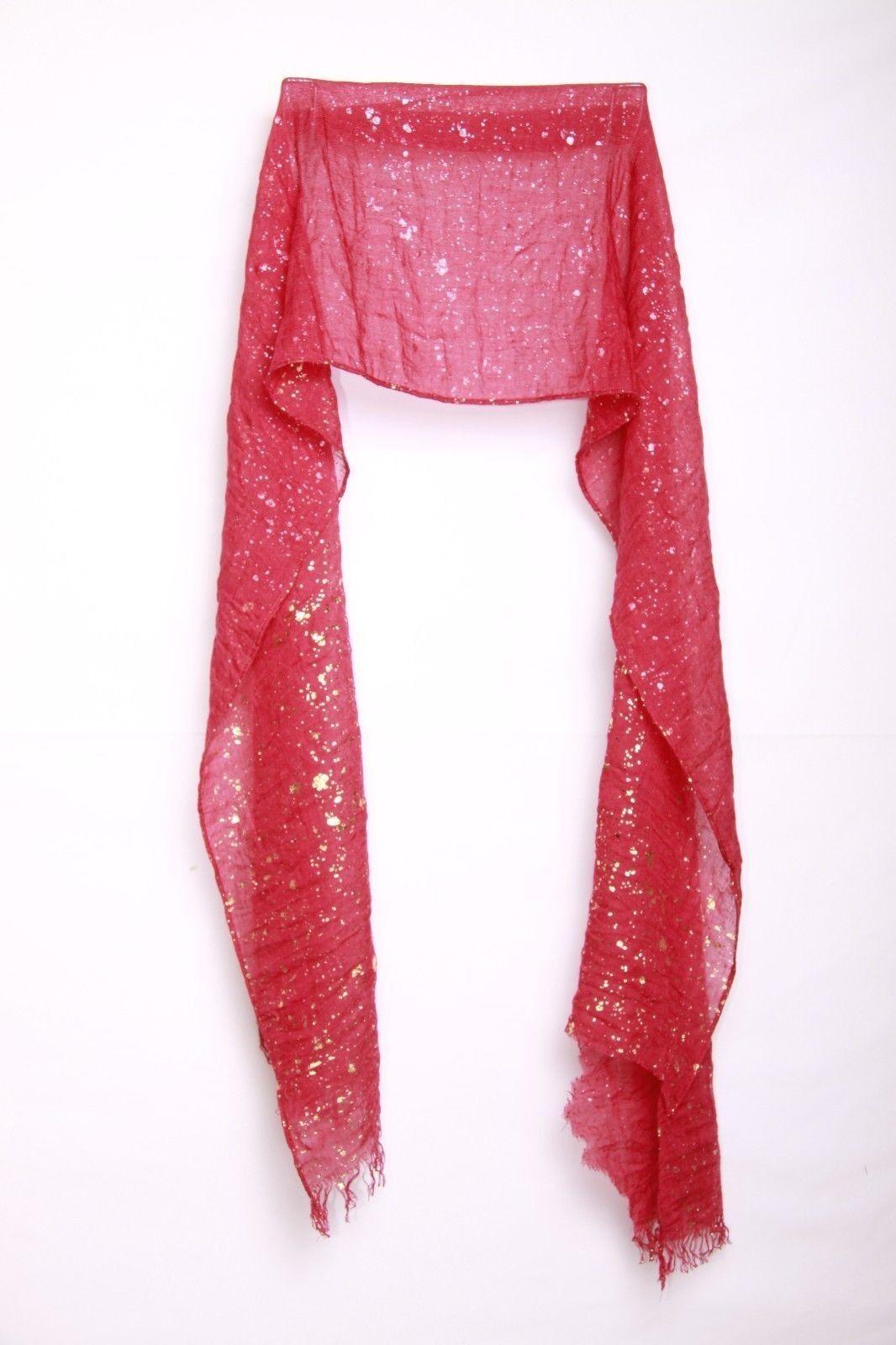 Écharpe à éclaboussures de peinture dorée au design robuste froissé rouge pour femme, vin (S5)