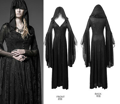Punk Rave Gothic Long Dress Coat Jacket Cloak Womens Black Visual kei Steampunk