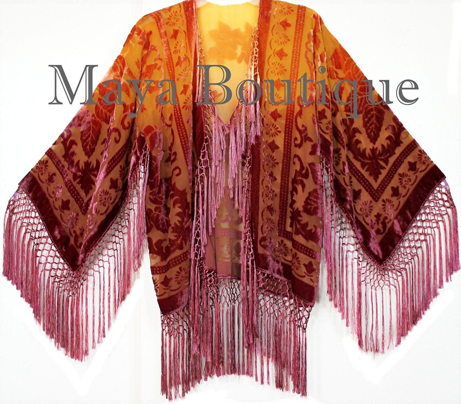 Arte vestible Terciopelo Kimono chaqueta Mano teñida Mandarina & Coco  corto de Maya Matazaro  el precio más bajo