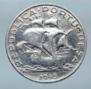 1946-PORTUGAL-with-PORTUGUESE-SAILING-SHIP-Vintage-Silver-5-Escudos-Coin-i85205