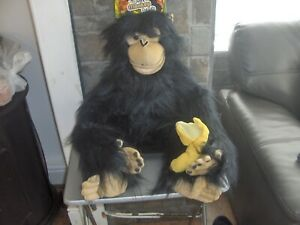"""2019 DernièRe Conception Grand Singe Marionnette à Main Mesures 32 """"noir. Banana Toy-velcro Attache Bnwt"""