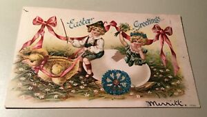 VINTAGE-EASTER-POSTCARD-WITH-BROWN-EYED-BEAUTY