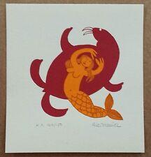 Rie Munoz (1921-2015) 'Mermaid & Walrus' ORIGINAL SIGNED PRINT Alaskan artist