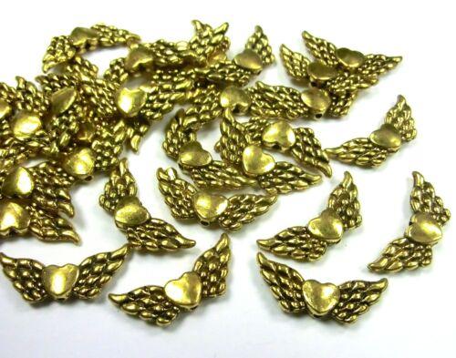 30 ala de ángel alas Ángel de la guarda corazón color oro 22mm spacer metal #s489