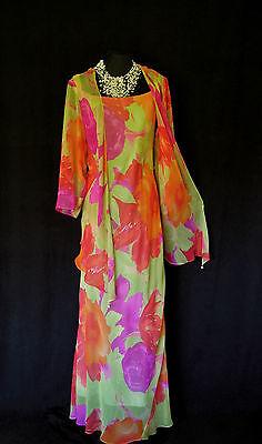 CATTIVA Size 16 18 Lime Pink Orange Red Ladies Designer Wedding Dress & Jacket