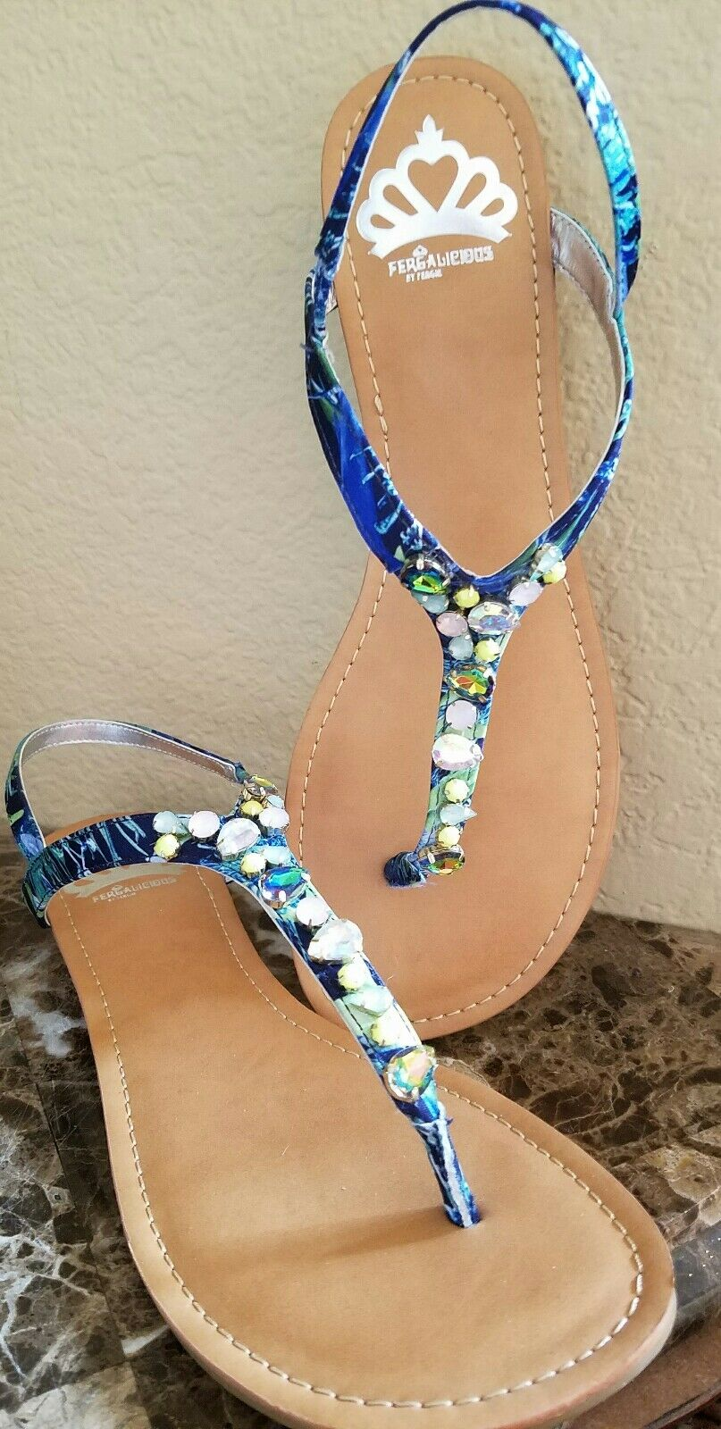 NEW FERGALICIOUS FERGIE blueE JEWELED WOMENS FLAT SANDALS  size 11