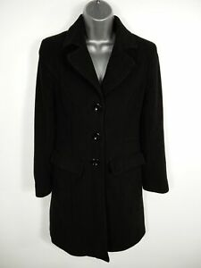 WOMENS-NEXT-BLACK-BUTTON-UP-SINGLE-BREASTED-WOOL-BLEND-OVERCOAT-JACKET-SIZE-UK-8