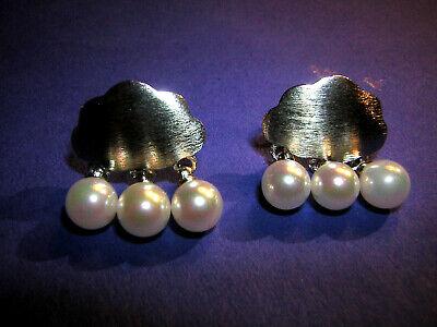 Schneidig Ohrstecker Silberne Wolke Perlen Als Regentropfen Unikat Handarbeit 925 Sterling Mit Einem LangjäHrigen Ruf