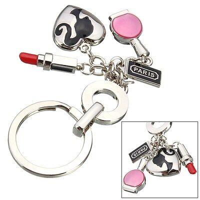 Women Lipstick Makeup Heart Keychain Key Chain Ring Keyring Keyfob Key chain