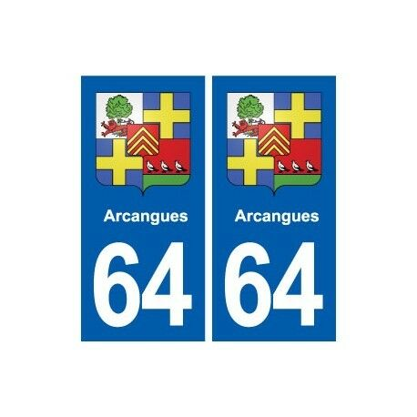 64 Arcangues blason autocollant plaque stickers ville -  Angles : arrondis