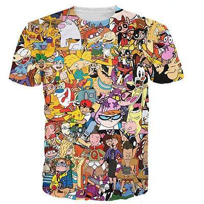 Funny 90s Anime Cartoon Collage Men Women Crew T Shirt 3d Graphic Tee Slim Fit