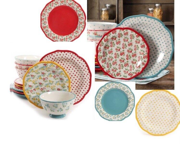 Rétro Floral Dot Dinnerware Set de 24 Bleu Sarcelle sert 8 salle à manger plats assiettes bols