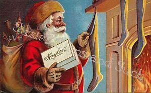 Vintage Christmas Fabric Block Old World Santa Claus