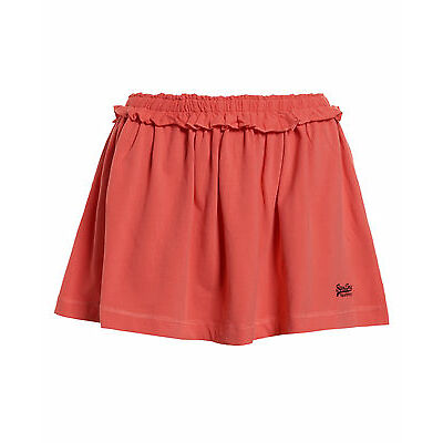 New Womens Superdry Factory Second Orange Label Frill Skirt Coral
