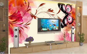 3D Large Red Flower Butterfly 2 Wall Paper Wall Print Decal Wall AJ WALLPAPER CA
