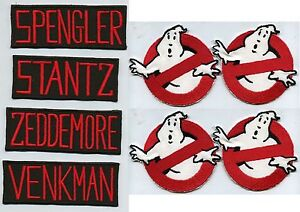 Set-of-4-Ghostbusters-No-Ghost-amp-4-Classic-Name-Tag-Iron-On-Patches