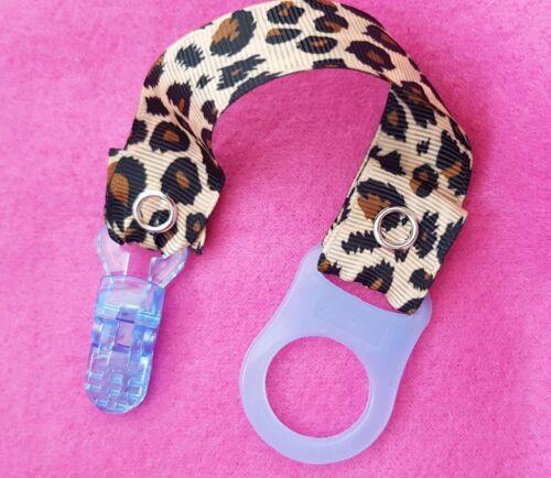 Chicas Chicos Bebé Maniquí Correa Clip Estampado de Leopardo con adaptador de estilo mam Rosa Azul