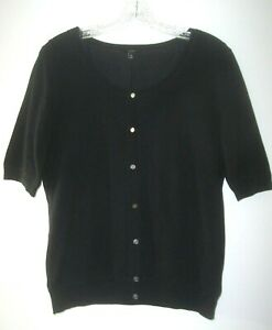 TALBOTS Black Thin Knit 80% Silk Sweater Size M Cardigan Mother Of Pearl Buttons