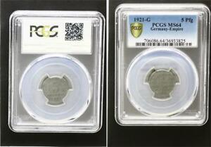Empire 5 Pfennig J.297 1921 G Fresh Mint Condition PCGS MS64
