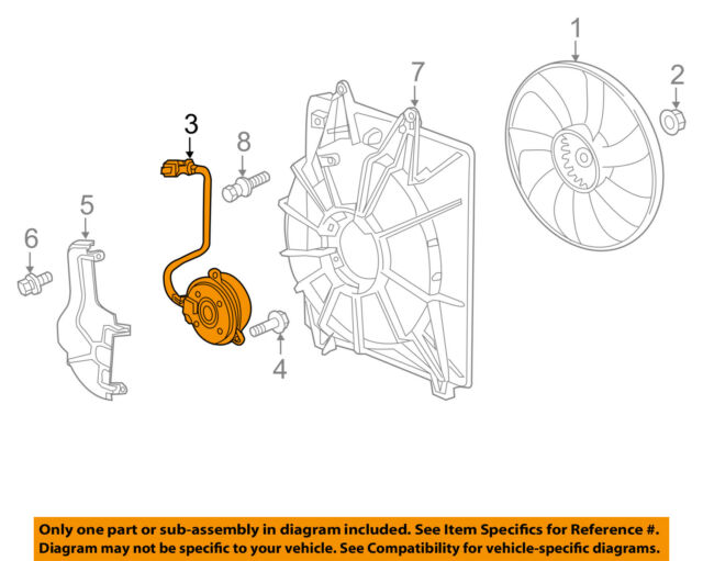 New Genuine Honda Odyssey Cooling Fan Motor OEM 38616RV0A01