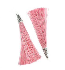 4 Tassels 90mm Rose Pink Polyester With Silver Tone Cap TSP015