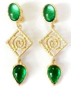 Exceptional-2-5-Inch-Green-Poured-Resin-Clip-Runway-Earrings