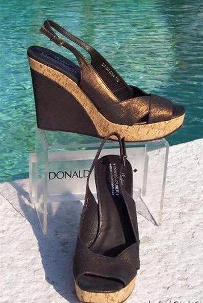 Donald Pliner Couture Metallic Leder Wedge Wedge Wedge Schuhe New Cork Mid Sole 275 NIB cbaa20