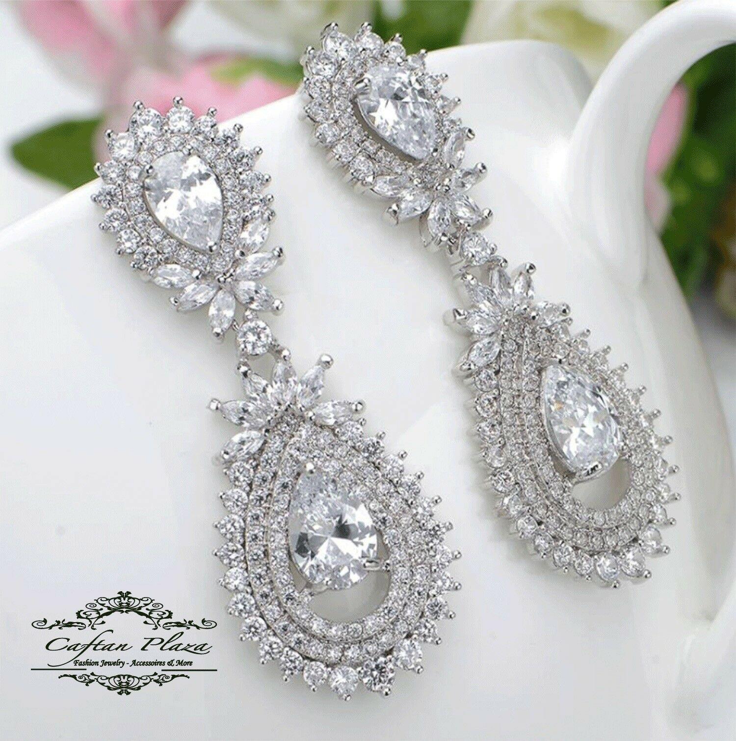 Ohrhänger Luxus Ohrringe Zirkonia AAA Chandelier XXL STELLUX™ Kristalle Weiss