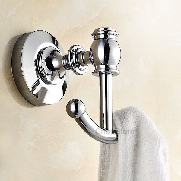 Wall Mounted Chrome Brass Bathroom Towel Coat Hooks Double Dual Robe Hook Hanger