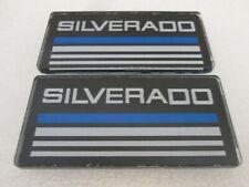 2 Blue Line Cab Silverado Emblems Badges Side Roof Pillar Decals Plate