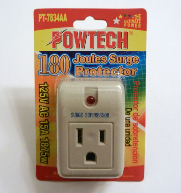 5 Pack NEW POWTECH Single Outlet Surge Protector 270 Joules Wit Power Suppressor