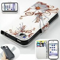 Flip PU Leather Wallet Slot Phone Accessory Cover Case For Apple IPhone 4 4S 4GS