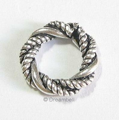 2x  Sterling Silver Round Twisted Ring European Spacer Bead Charm  9.5mm