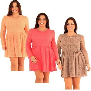 d6d3a3038747 New Womens Plus Size Floral Lace Puff Long Sleeve Skater Going Out ...