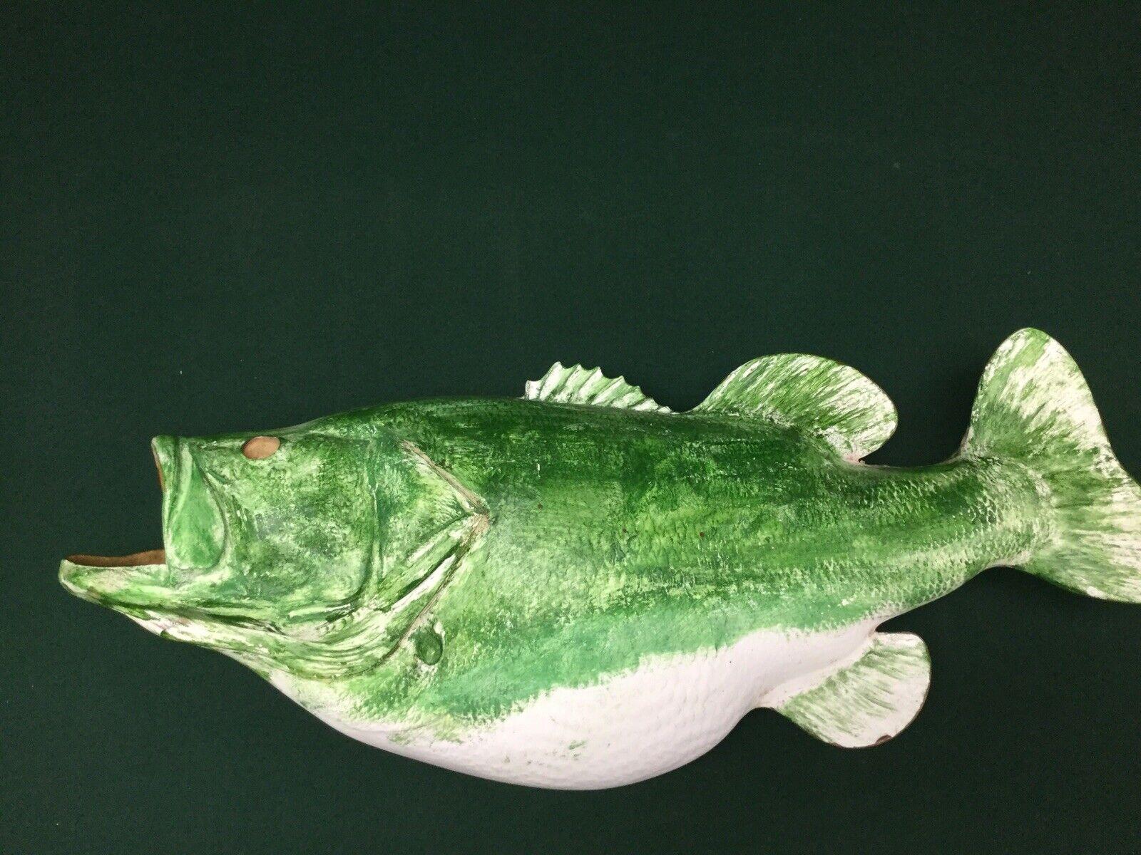 "Fiberglass Or Plastic Large Mouth Bass Fish Mount 28"" Long MAN CAVE CABIN DECOR"