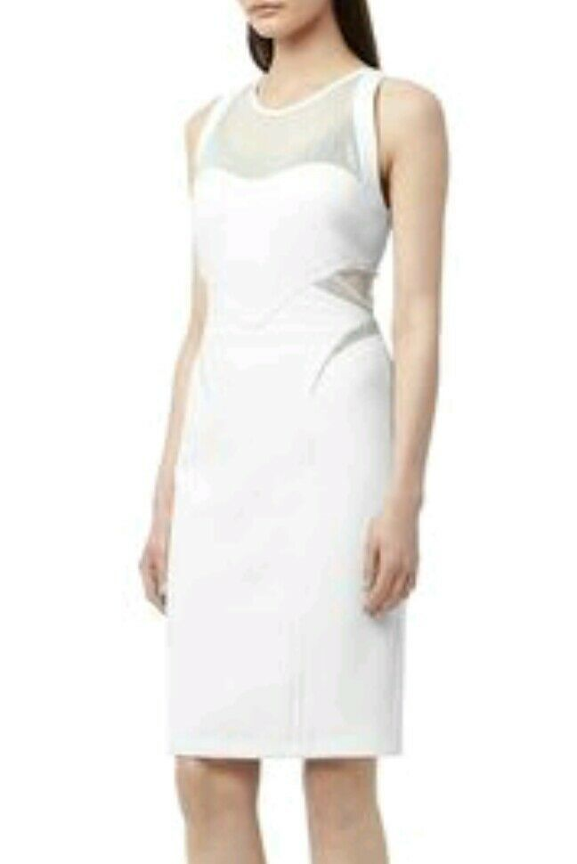 Designer REISS Pam Pam Pam panelled fitted dress size 12 --BRAND NEW-- knee length white 5653f9