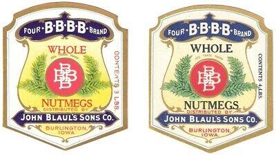 2  4 B Brand Whole Nutmegs Vintage Labels John Blaul/'s Sons Co Iowa Burlington